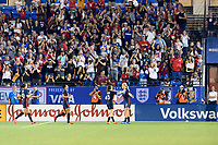 FRISCO, TX - MARCH 11: Lindsey Horan #9 of the United States scores to make it 3-1 against Japan during a game between Japan and USWNT at Toyota Stadium on March 11, 2020 in Frisco, Texas.