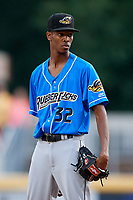 Akron RubberDucks starting pitcher Triston McKenzie (32) looks in for the sign during a game against the Harrisburg Senators on August 18, 2018 at FNB Field in Harrisburg, Pennsylvania.  Akron defeated Harrisburg 5-1.  (Mike Janes/Four Seam Images)