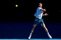 14th February 2021, Melbourne, Victoria, Australia; Grigor Dimitrov of Bulgaria returns the ball during round 4 of the 2021 Australian Open on February 14 2020, at Melbourne Park in Melbourne, Australia.