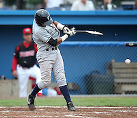 Staten Island Yankees Jhorge Liccien #13 breaks his bat during a game against the Batavia Muckdogs at Dwyer Stadium on July 28, 2011 in Batavia, New York.  Batavia defeated Staten Island 4-3.  (Mike Janes/Four Seam Images)