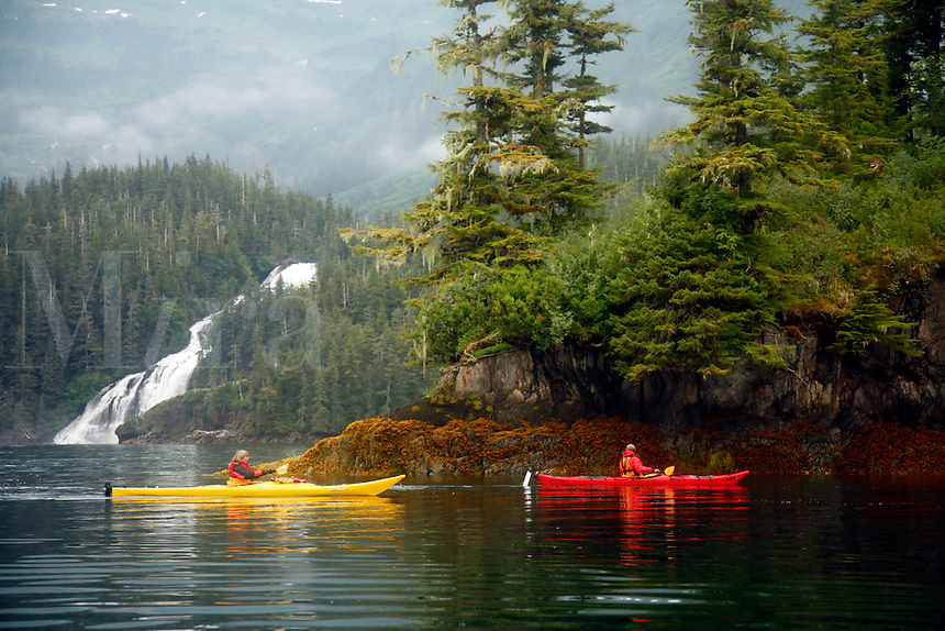 Kayaking in Cascade Bay, Prince William Sound, Chugach National Forest, Alaska.
