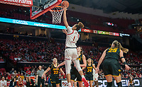 COLLEGE PARK, MD - FEBRUARY 13: Shakira Austin #1 of Maryland tips in a basket during a game between Iowa and Maryland at Xfinity Center on February 13, 2020 in College Park, Maryland.