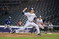 Northwest Arkansas Naturals pitcher Conner Greene (21) delivers a pitch on May 13, 2019, at Arvest Ballpark in Springdale, Arkansas. (Jason Ivester/Four Seam Images)