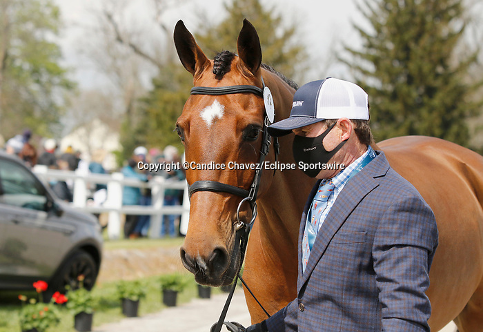 April 21, 2021: 58 Z and rider Phillip Dutton from the USA in the first horse veterinary inspection at the Land Rover Three Day Event at the Kentucky Horse Park in Lexington, KY on April 21, 2021.  Candice Chavez/ESW/CSM