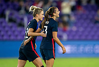 ORLANDO, FL - FEBRUARY 24: Alex Morgan #13 of the USWNT celebrates during a game between Argentina and USWNT at Exploria Stadium on February 24, 2021 in Orlando, Florida.