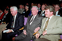 April 1992 File Photo - <br /> Union des Municipalites du Quebec convention in April -<br /> Ralph Mercier, UMQ President and Mayor of Charlesbourg (L), Claude Ryan, Quebec Minister of Municipal Affairs (M), Jean Dore, mayor of Montreal (R)
