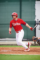 GCL Phillies designated hitter Ben Pelletier (26) at bat during a game against the GCL Braves on August 3, 2016 at the Carpenter Complex in Clearwater, Florida.  GCL Phillies defeated GCL Braves 4-3 in a rain shortened six inning game.  (Mike Janes/Four Seam Images)