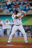 Pensacola Blue Wahoos Alex Kirilloff (19) at bat during a Southern League game agains the Biloxi Shuckers on May 3, 2019 at Admiral Fetterman Field in Pensacola, Florida.  (Mike Janes/Four Seam Images)