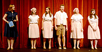 Marc Hayot/Herald Leader. Isabelle Pennick leads Sierra Horner, Katie Kelley, Reece Edwards, Lindsey Bolstad, and Emma Bryant through their song during the competition.