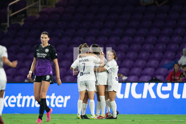 ORLANDO, FL - SEPTEMBER 11: Racing Louisville FC celebrates a goal during a game between Racing Louisville FC and Orlando Pride at Exploria Stadium on September 11, 2021 in Orlando, Florida.