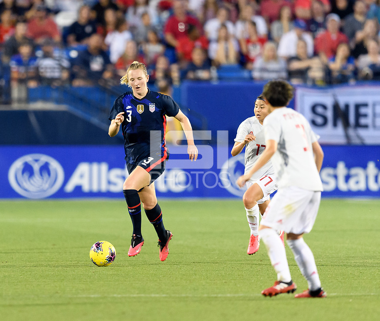 FRISCO, TX - MARCH 11: Samantha Mewis #3 of the United States brings the ball up the field in the first half during a game between Japan and USWNT at Toyota Stadium on March 11, 2020 in Frisco, Texas.