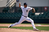 Detroit Tigers pitcher Jesus Rodriguez (72) during a Minor League Spring Training game against the Baltimore Orioles on April 14, 2021 at Joker Marchant Stadium in Lakeland, Florida.  (Mike Janes/Four Seam Images)