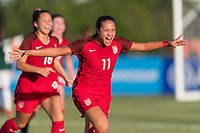 Bradenton, FL - Sunday, June 12, 2018: Maya Doms, goal celebration during a U-17 Women's Championship Finals match between USA and Mexico at IMG Academy.  USA defeated Mexico 3-2 to win the championship.