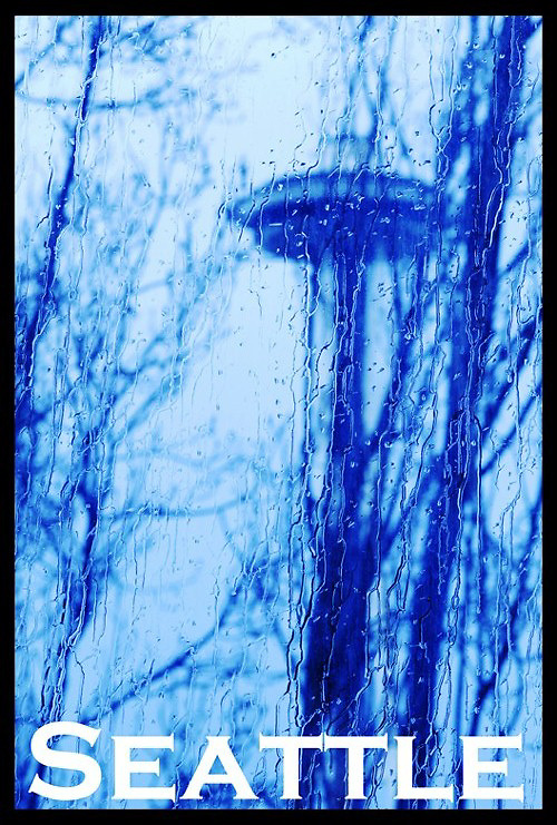 Space Needle as seen thru a wet window