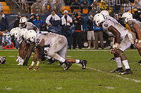 The Penn State defense lines up for a play. Pictured are defensive end Shareef Miller (48), linebacker Cam Brown (6) and linebacker Jan Johnson (36). The Penn State Nittany Lions defeated the Pitt Panthers 51-6 on September 08, 2018 at Heinz Field in Pittsburgh, Pennsylvania.