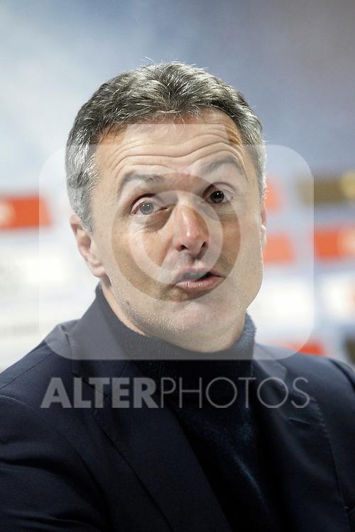 Getafe's coach Fran Escriba in press conference after La Liga match. February 27,2016. (ALTERPHOTOS/Acero)