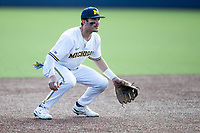 Michigan Wolverines third baseman Christian Molfetta (14) on defense against the Michigan State Spartans on March 22, 2021 in NCAA baseball action at Ray Fisher Stadium in Ann Arbor, Michigan. Michigan State beat the Wolverines 3-0. (Andrew Woolley/Four Seam Images)
