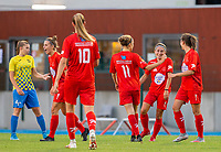 20200821 - Woluwe: Woluwe players celebrate the goal of Stephanie Suenens (facing forward right)  (Sheile Broos left) during a friendly match between Femina WS Woluwe vs K Wuustwezel FC on 21th of August 2020, in Stade Fallon, Woluwe. PHOTO: Sportpix.be | SEVIL OKTEM