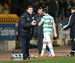 St Johnstone v Celtic.....26.12.13   SPFL<br /> Tommy Wright encourages his players<br /> Picture by Graeme Hart.<br /> Copyright Perthshire Picture Agency<br /> Tel: 01738 623350  Mobile: 07990 594431