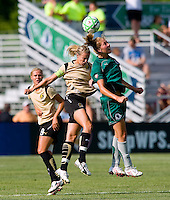 FC Gold Pride midfielder Leslie Osborne (10) and Saint Louis Athletica midfielder Amanda Cinalli (15) during a WPS match at Anheuser-Busch Soccer Park, in St. Louis, MO, July 26, 2009.  The match ended in a 1-1 tie.