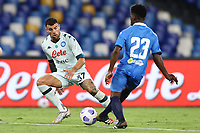Orestis Karnezis of SSC Napoli and Stephane Omeonga of SC Pescara compete for the ball<br /> during the friendly football match between SSC Napoli and Pescara Calcio 1936 at stadio San Paolo in Napoli, Italy, September 11, 2020. <br /> Photo Cesare Purini / Insidefoto