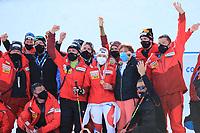 18th February 2021; Cortina d'Ampezzo, Italy; FIS Alpine World Ski Championships 2021 Cortina Women's Giant Slalom; Lara Gut-Behrami (SUI) with her support team