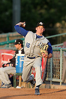 Allen Webster #16 of the Rancho Cucamonga Quakes warms up before pitching against the Inland Empire 66'ers at Arrowhead Credit Union Park in San Bernardino,California on May 12, 2011. Photo by Larry Goren/Four Seam Images