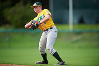 Siena Saints second baseman Jordan Bishop (4) throws to first base during a game against the Pittsburgh Panthers on February 24, 2017 at Historic Dodgertown in Vero Beach, Florida.  Pittsburgh defeated Siena 8-2.  (Mike Janes/Four Seam Images)