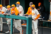 Tennessee Volunteers coach Tony Vitello looks on from the dugout during the game against the LSU Tigers on Robert M. Lindsay Field at Lindsey Nelson Stadium on March 28, 2021, in Knoxville, Tennessee. (Danny Parker/Four Seam Images)