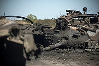 Destroyed Ukrainian tanks near Illovaysk, Eastern Ukraine.