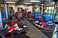 Players exercise in the gym during the Swansea City Training at The Fairwood Training Ground in Swansea, Wales, UK. Thursday 28 December 2017