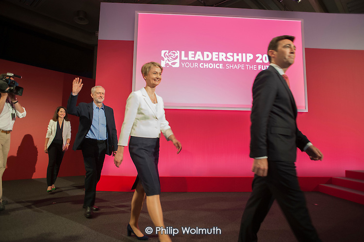 Candidates at Labour Party leadership election result Westminster London
