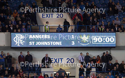 Rangers v St Johnstone...22.09.15  Scottish League Cup Round 3, Ibrox Stadium<br /> The scoreboard tells the story...Rangers 3-1 St Johnstone<br /> Picture by Graeme Hart.<br /> Copyright Perthshire Picture Agency<br /> Tel: 01738 623350  Mobile: 07990 594431