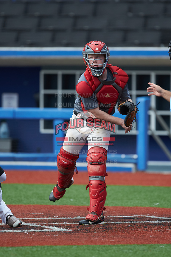 Catcher Andrew Chandler (12) of Union Academy High School in Marshville, NC during the Atlantic Coast Prospect Showcase hosted by Perfect Game at Truist Point on August 23, 2020 in High Point, NC. (Brian Westerholt/Four Seam Images)