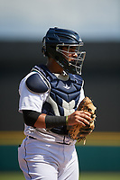 Detroit Tigers catcher Gresuan Silverio (27) during a Florida Instructional League game against the Pittsburgh Pirates on October 6, 2018 at Joker Marchant Stadium in Lakeland, Florida.  (Mike Janes/Four Seam Images)
