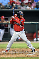 Oklahoma City RedHawks second baseman Ronald Torreyes (5) at bat during a game against the Memphis Redbirds on May 23, 2014 at AutoZone Park in Memphis, Tennessee.  Oklahoma City defeated Memphis 12-10.  (Mike Janes/Four Seam Images)
