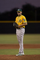 AZL Athletics relief pitcher Osvaldo Berrios (40) prepares to deliver a pitch during an Arizona League game against the AZL Giants Black at the San Francisco Giants Training Complex on June 19, 2018 in Scottsdale, Arizona. AZL Athletics defeated AZL Giants Black 8-3. (Zachary Lucy/Four Seam Images)