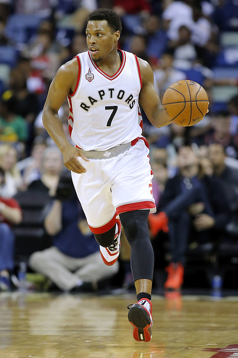 NEW ORLEANS, LA - MARCH 26:  Kyle Lowry #7 of the Toronto Raptors drives with the ball during a game at the Smoothie King Center on March 26, 2016 in New Orleans, Louisiana. NOTE TO USER: User expressly acknowledges and agrees that, by downloading and or using this photograph, User is consenting to the terms and conditions of the Getty Images License Agreement.  (Photo by Jonathan Bachman/Getty Images)