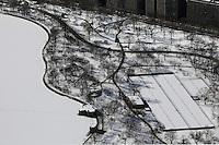 aerial photograph Central Park tennis courts, Manhattan, New York City after a snow storm