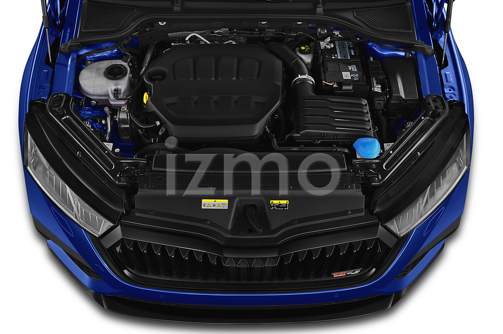 Car Stock 2020 Skoda Octavia-Combi RS 5 Door Wagon Engine  high angle detail view