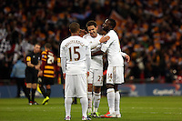 Pictured: (L-R) Wayne Routledge, Angel Rangel, Roland Lamah. Sunday 24 February 2013<br /> Re: Capital One Cup football final, Swansea v Bradford at the Wembley Stadium in London.