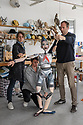 """London, UK. 01.05.2019. Ruth Paton, Fiona Clift, Mark Down, with """"Peter"""", of Blind Summit puppet theatre company, in their studio in North London, creating puppets for """"Peter and the Wolf"""", which will be performed on August 20th 2019, in the Hollywood Bowl, L.A. Photograph © Jane Hobson."""