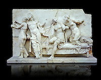 Roman marble relief sculpture known as  Alcibiades and Etere, Franeses Collection, Roman copy of an earlier Greek Helenistic original , inv no 6688, Secret Museum or Secret Cabinet, Naples National Archaeological Museum, black backround