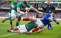 Sunday10th March 2019 | Ireland vs France<br /> <br /> Conor Murray and Peter O'Mahony tackle Romain Ntamack into touch in-goal during the Guinness 6 Nations clash between Ireland and France at the Aviva Stadium, Lansdowne Road, Dublin, Ireland. Photo by John Dickson / DICKSONDIGITAL