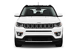 Car photography straight front view of a 2018 Jeep Compass Limited 4WD 5 Door SUV