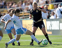 Marisa Abegg (3) controls the ball against Natalie Spilger (left). FC Gold Pride and Chicago Red Stars tied 1-1 at Buck Shaw Stadium in Santa Clara, California on June 7, 2009.
