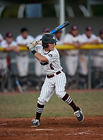 Braden River Pirates second baseman Dylan McGarry (6) bats during a game against the Venice Indians on February 25, 2021 at Braden River High School in Bradenton, Florida. (Mike Janes/Four Seam Images)