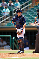 Montgomery Biscuits catcher Brett Sullivan (7) talks with home plate umpire Edwin Moscoso during a game against the Biloxi Shuckers on May 8, 2018 at Montgomery Riverwalk Stadium in Montgomery, Alabama.  Montgomery defeated Biloxi 10-5.  (Mike Janes/Four Seam Images)