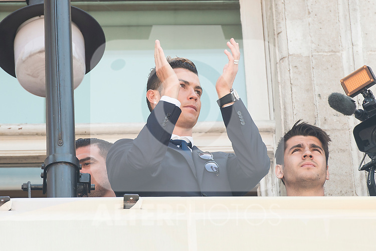 Real Madrid's Cristiano Ronaldo on the balcony of the Seat of government greeting the fans in Madrid, May 22, 2017. Spain.<br /> (ALTERPHOTOS/BorjaB.Hojas)