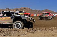 Jun. 26, 2009; Lake Elsinore, CA, USA; LOORRS unlimited 2 driver Rodrigo Ampudia (right) loses control during qualifying. Mandatory Credit: Mark J. Rebilas-